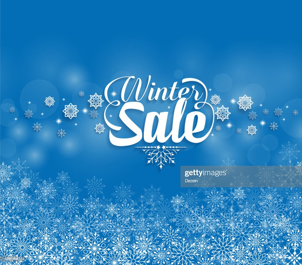 Winter Sale Text in Snowflakes Blue Background