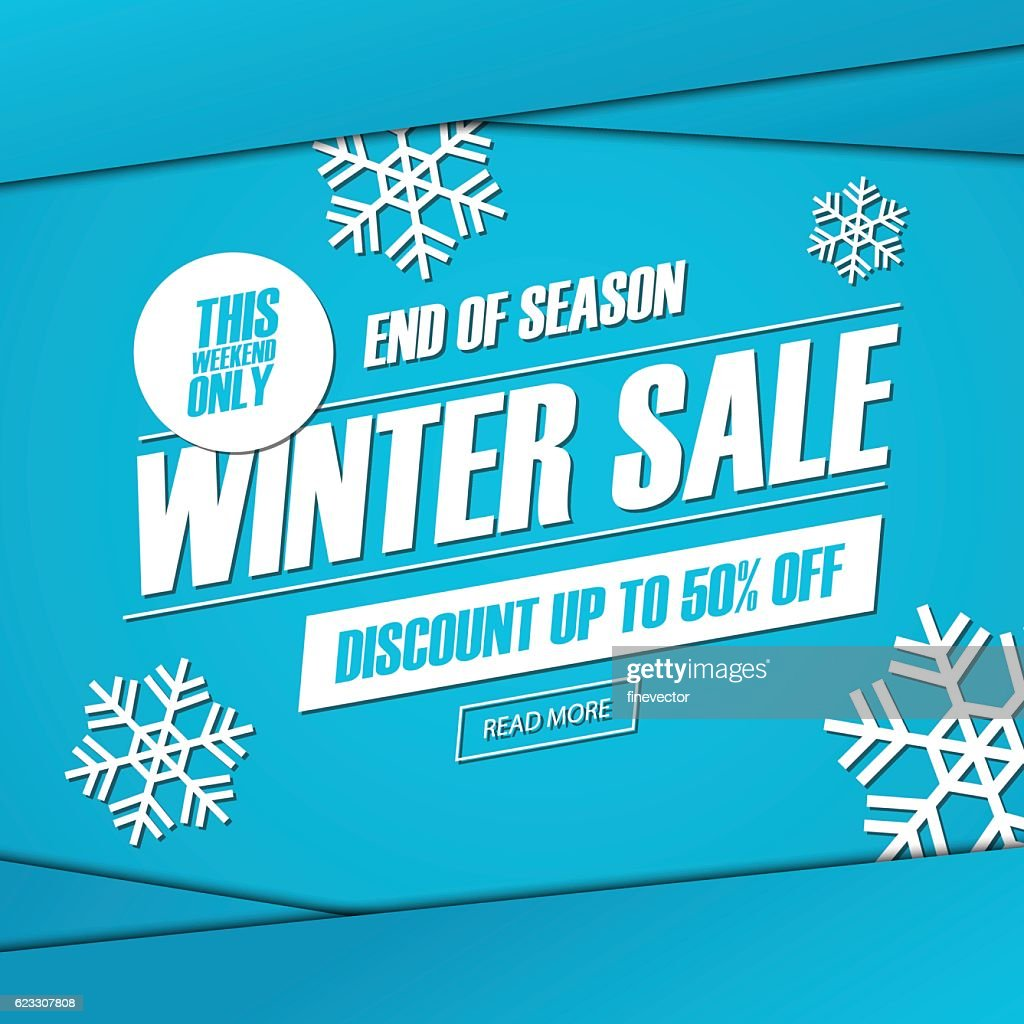Winter sale. This weekend special offer banner.