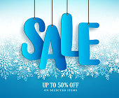 Winter sale vector banner design with hanging text in snowflakes