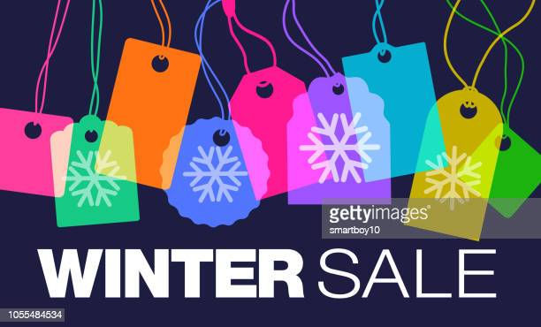 winter sales - luggage tag stock illustrations, clip art, cartoons, & icons