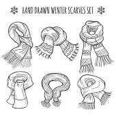 Winter scarves sketch on white background