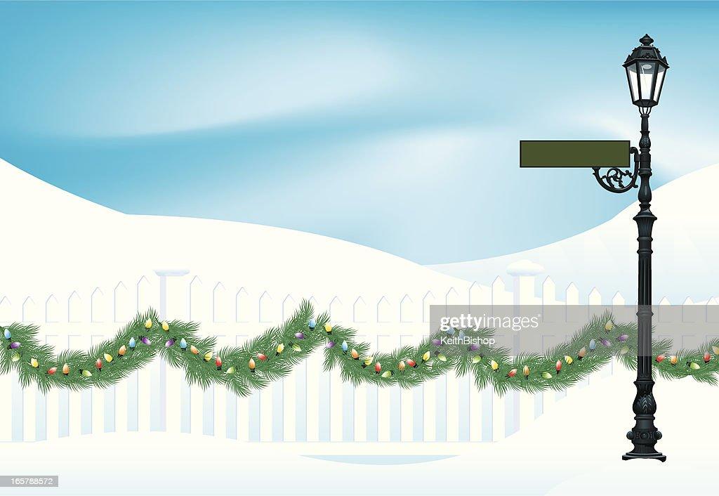Winter Scene Background - Christmas Garland & Street Light : stock illustration