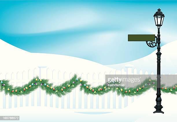 Winter Scene Background - Christmas Garland & Street Light