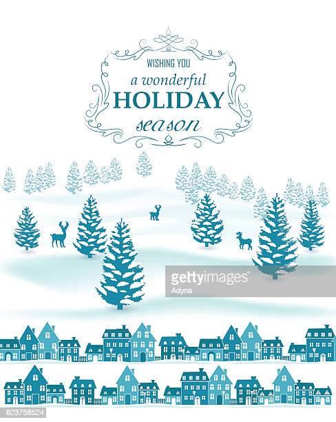 winter scene - village stock illustrations