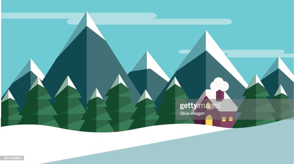A winter scene with trees and mountains and a cabine