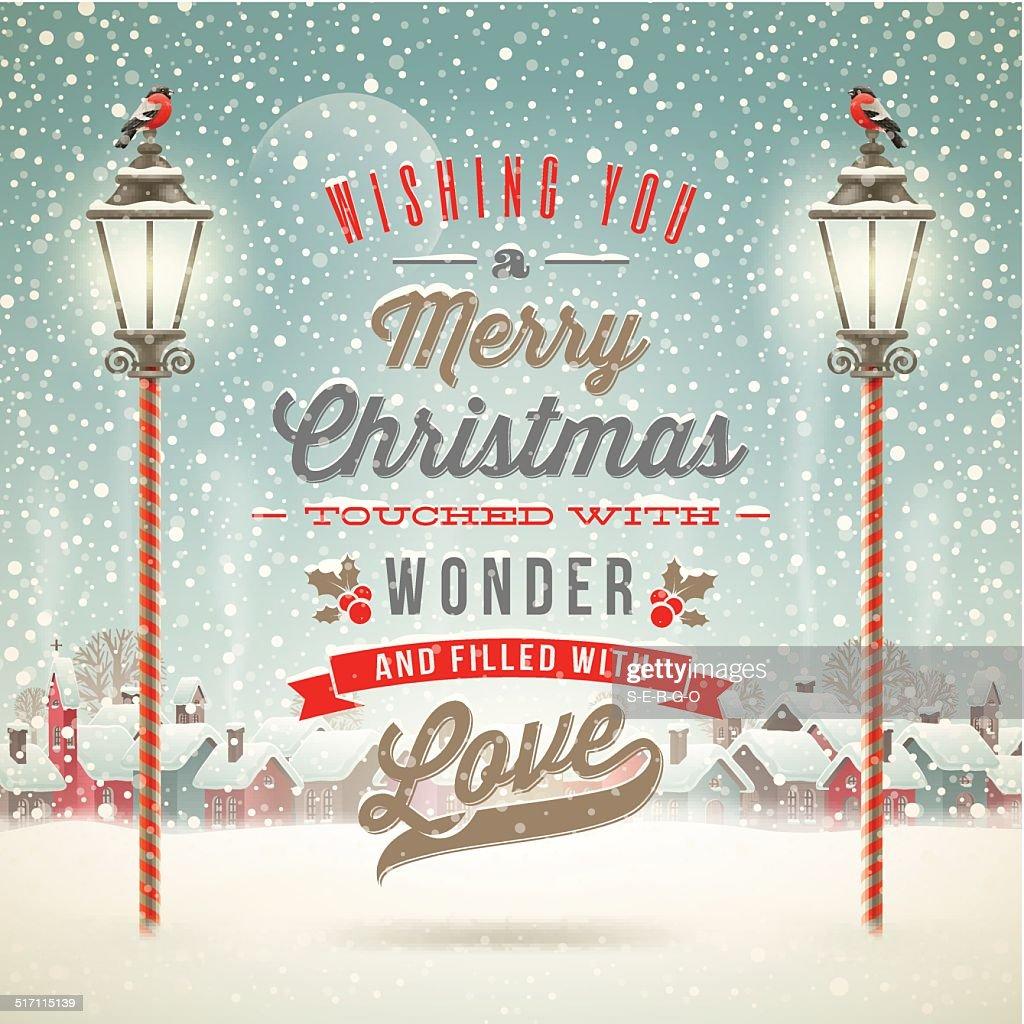 Winter scene with vintage street lantern and Christmas type design