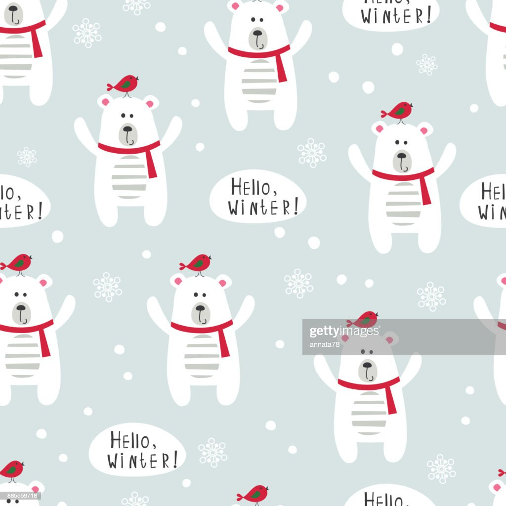 Winter seamles pattern with polar bears and birds