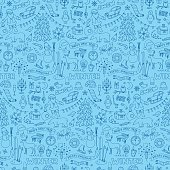 Winter seamless hand drawn doodle pattern