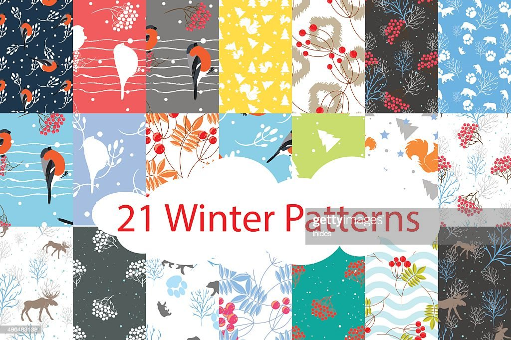 Winter seamless pattern bundle set