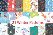 Winter seamless pattern bundle set
