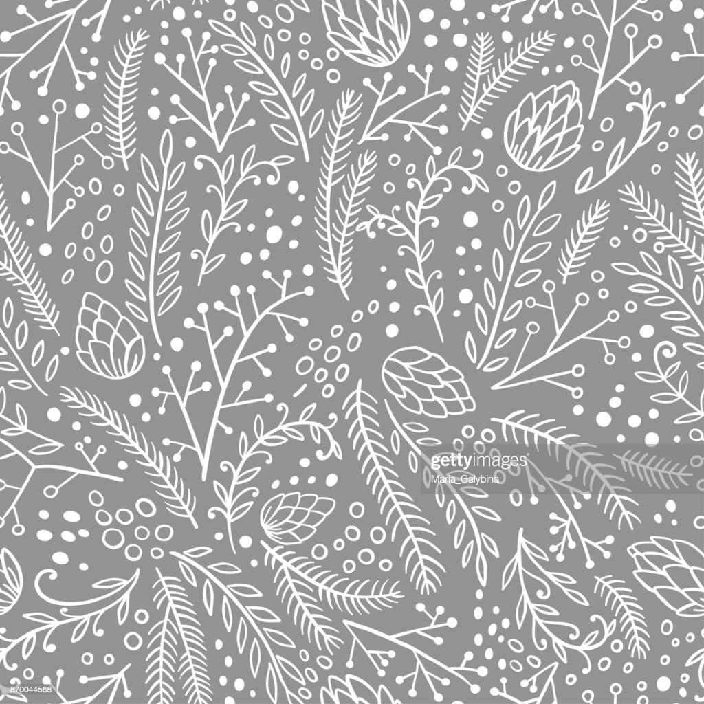 Winter seamless pattern. Hand drawn conifers: fir, larch, juniper, pine, spruce. Doodle vector illustration.