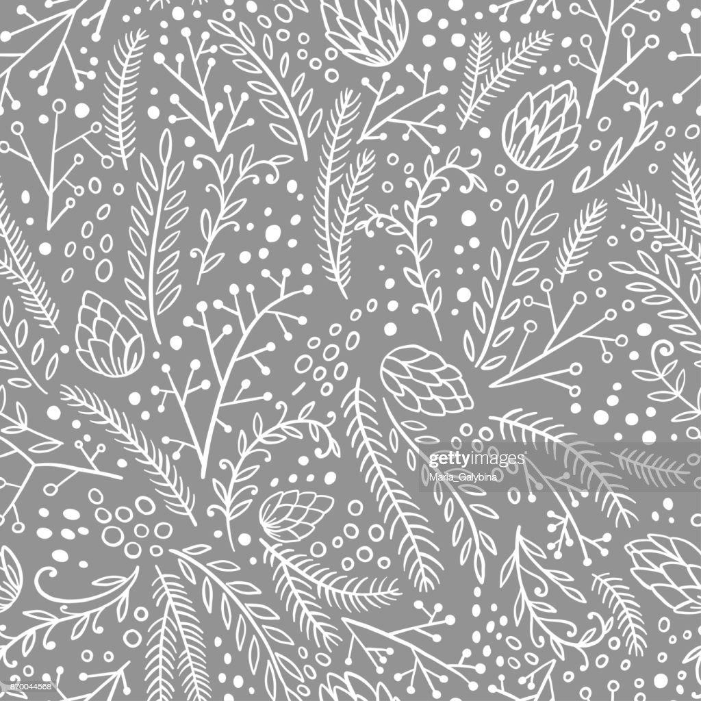 Winter seamless pattern. Hand drawn conifers: fir, larch, juniper, pine, spruce. Doodle vector illustration.
