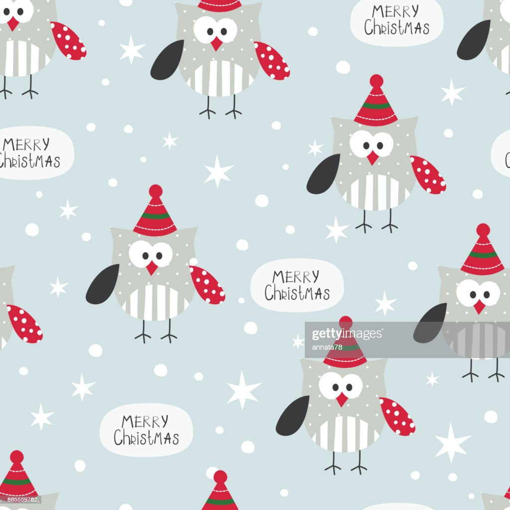 Winter seamless pattern with cute owls