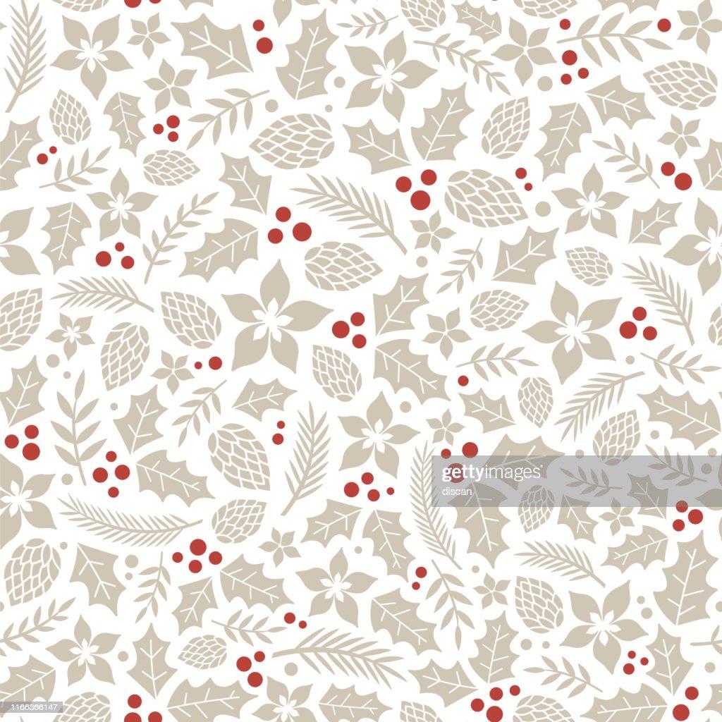 Patrón invernal de invierno con bayas de acebo. : Ilustración de stock