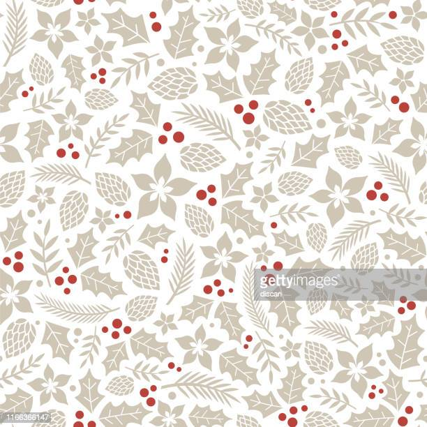 winter seamless pattern with holly berries. - pattern stock illustrations