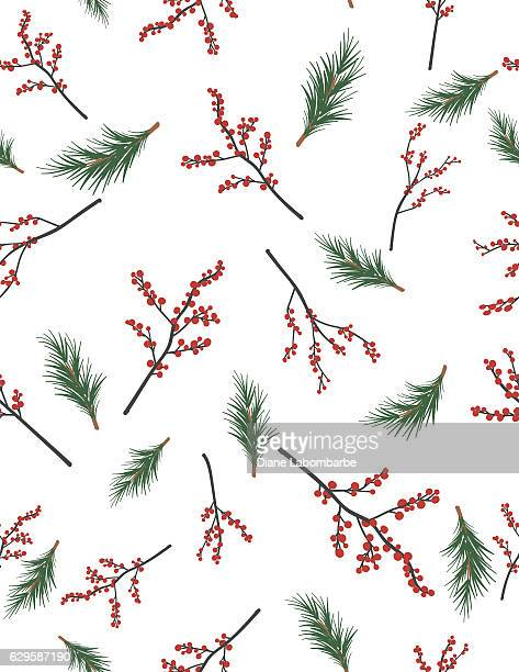 winter seamless patterns - berry stock illustrations