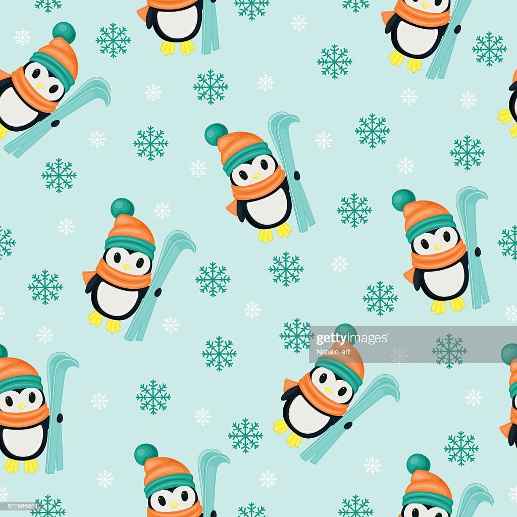 Winter seamless wallpaper with penguins