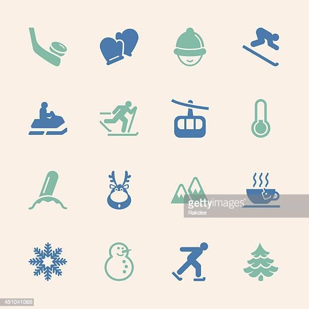 winter season icons - color series | eps10 - ski slope stock illustrations, clip art, cartoons, & icons