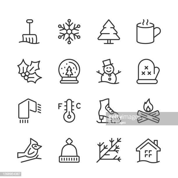 winter season icons — monoline series - winterdienst stock illustrations
