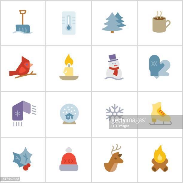 winter season icons — poly series - winterdienst stock illustrations