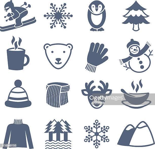 illustrations, cliparts, dessins animés et icônes de saison d'hiver-icônes set - ours polaire