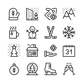 Winter season line icons set. Winter activities, objects, holidays concepts. Modern graphic design concepts, black simple linear stroke outline elements collection. Vector line icons