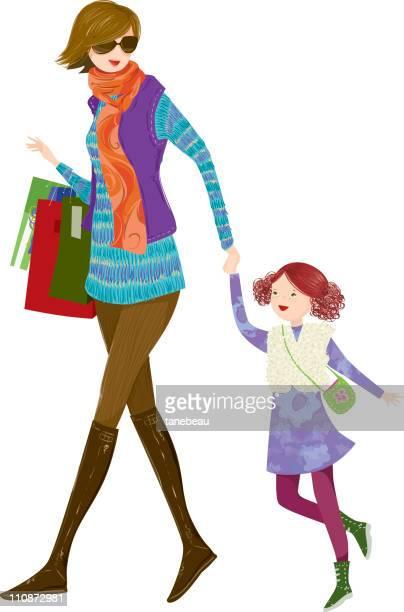 ilustraciones, imágenes clip art, dibujos animados e iconos de stock de invierno de compras, mommy y de su hija. - madre e hija