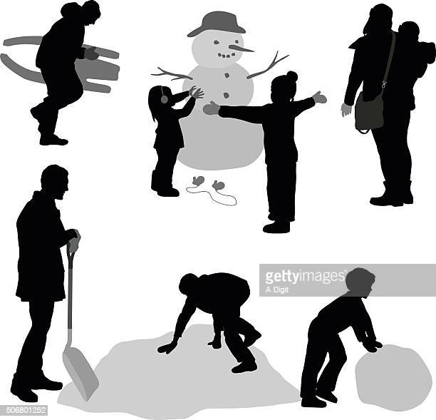 winter silhouette family - tobogganing stock illustrations, clip art, cartoons, & icons