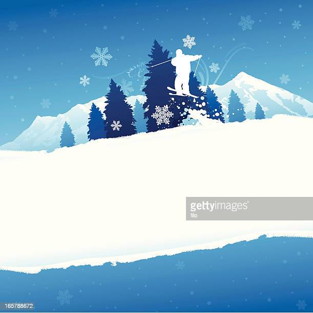 winter skiing background - alpine skiing stock illustrations