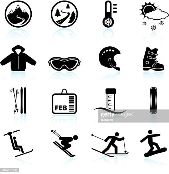 Winter skiing vacation black & white vector icon set