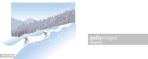 winter skiing - ski slope stock illustrations, clip art, cartoons, & icons
