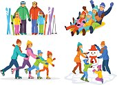 Winter snow and ice fun family activities: skiing, sledding, ice skating and making a snowman