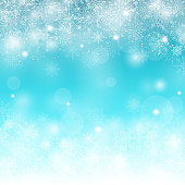 Winter Snow Background with Different Snowflakes. Vector Illustration