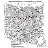 Winter Snowball. Adult Coloring book