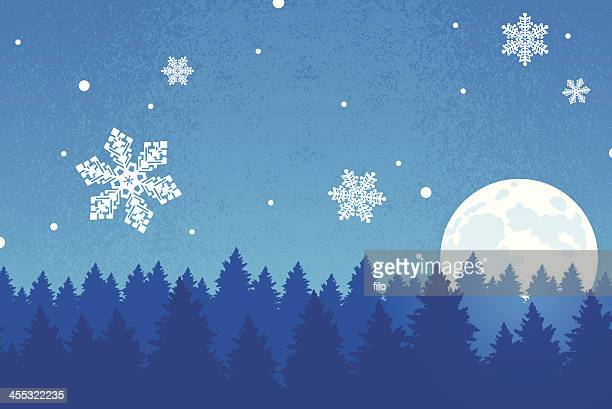 winter snowfall background - ponderosa pine tree stock illustrations, clip art, cartoons, & icons