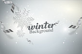 Winter Snowflakes Vector illustration Background Concept Design