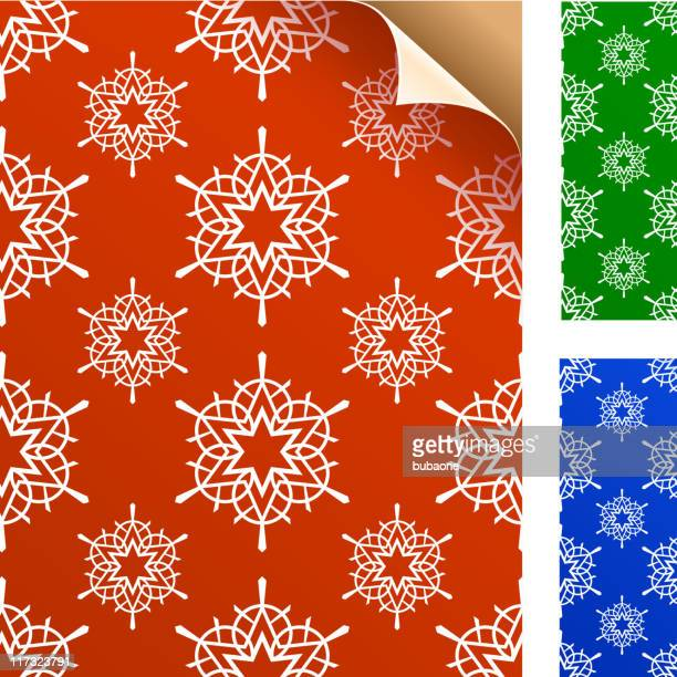 winter snowflakes wrapping gift paper - corner marking stock illustrations, clip art, cartoons, & icons