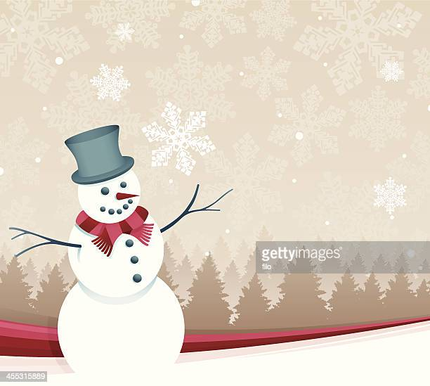 winter snowman - ponderosa pine tree stock illustrations, clip art, cartoons, & icons