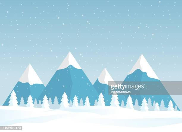 winter snowy landscape card design. mountains with pine tree forest. vector - horizontal stock illustrations