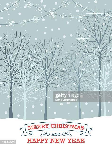 Paysage d'hiver avec des arbres enneigés.
