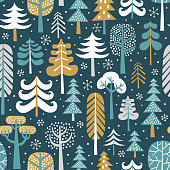 Winter snowy woods vector seamless pattern.