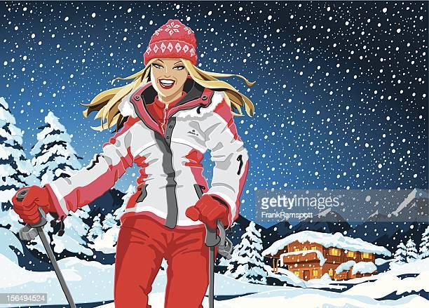 Winter Sport Girl Landscape Snowing