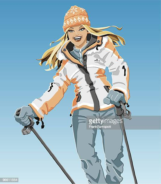 winter sport girl - looking at camera stock illustrations, clip art, cartoons, & icons