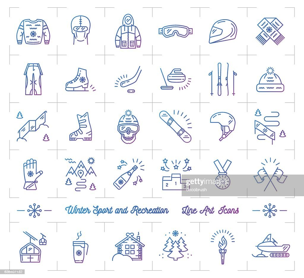 Winter sport gradient outline icons, Seasonal recreation, Flat infographics logo