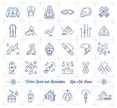 Winter sport gradient outline icons, Seasonal recreation, Flat infographics logo