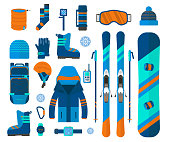 Winter sport icons collection. Skiing and snowboarding set equipment
