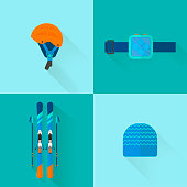 Winter sport icons collection. Skiing and snowboarding set equipment  in flat style design
