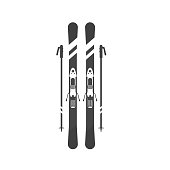 Winter sport icons  skiing and sticks