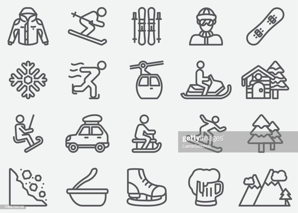 Iconos de línea de deporte de invierno : Ilustración de stock