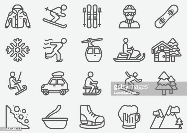 winter sport line icons - winter sport stock illustrations